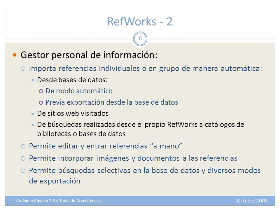 RefWorks - 2 Gestor personal de información: