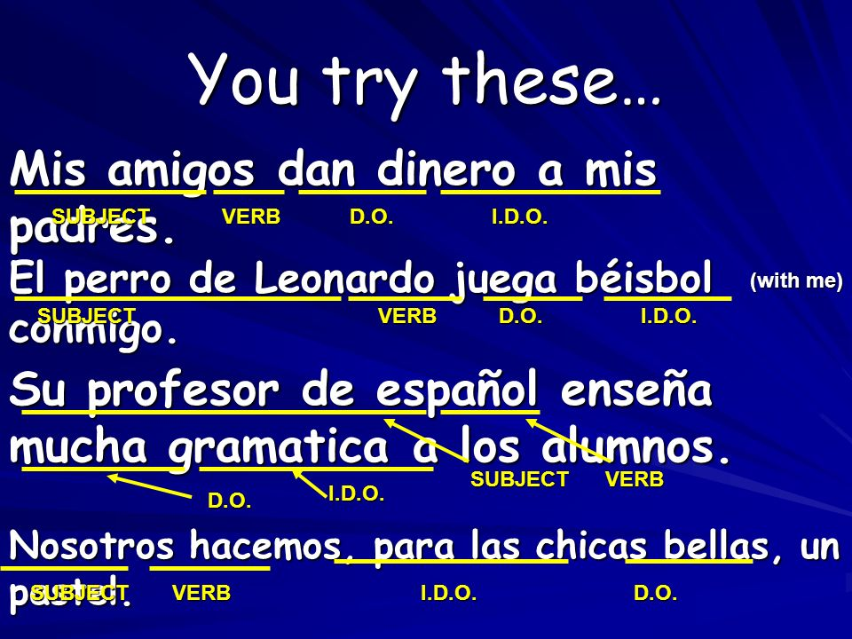 You try these… Mis amigos dan dinero a mis padres.