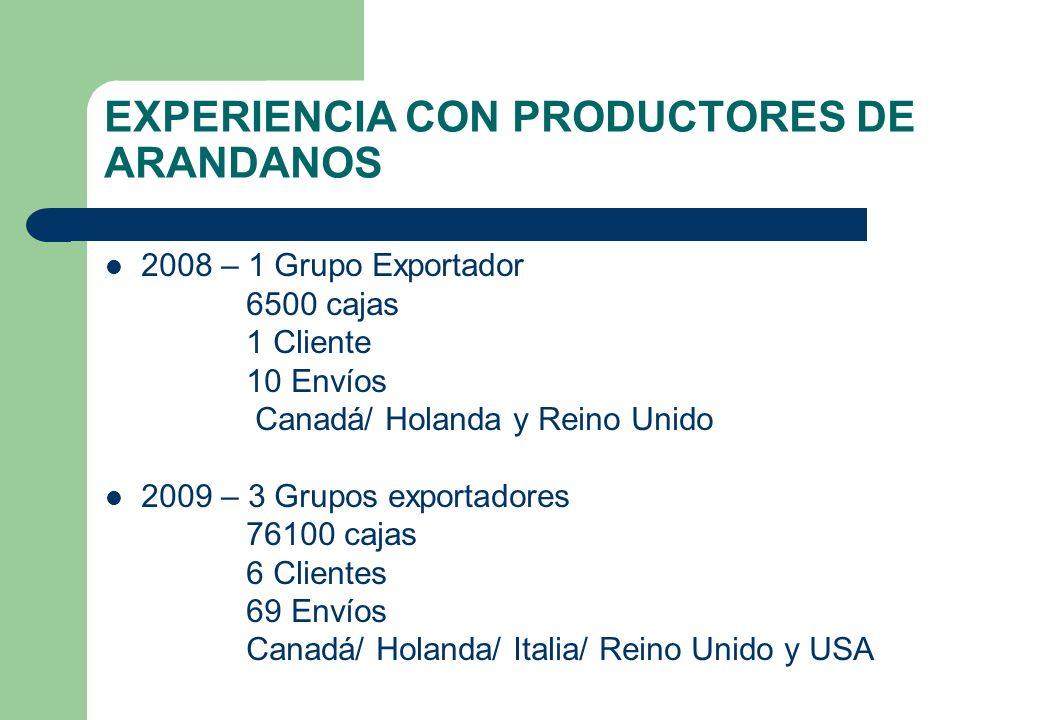 EXPERIENCIA CON PRODUCTORES DE ARANDANOS
