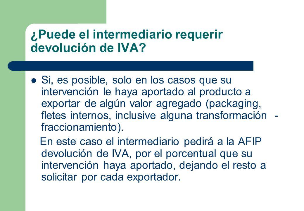 ¿Puede el intermediario requerir devolución de IVA