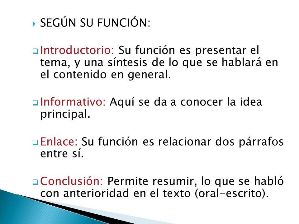 SEGÚN SU FUNCIÓN: Introductorio: Su función es presentar el tema, y una síntesis de lo que se hablará en el contenido en general.