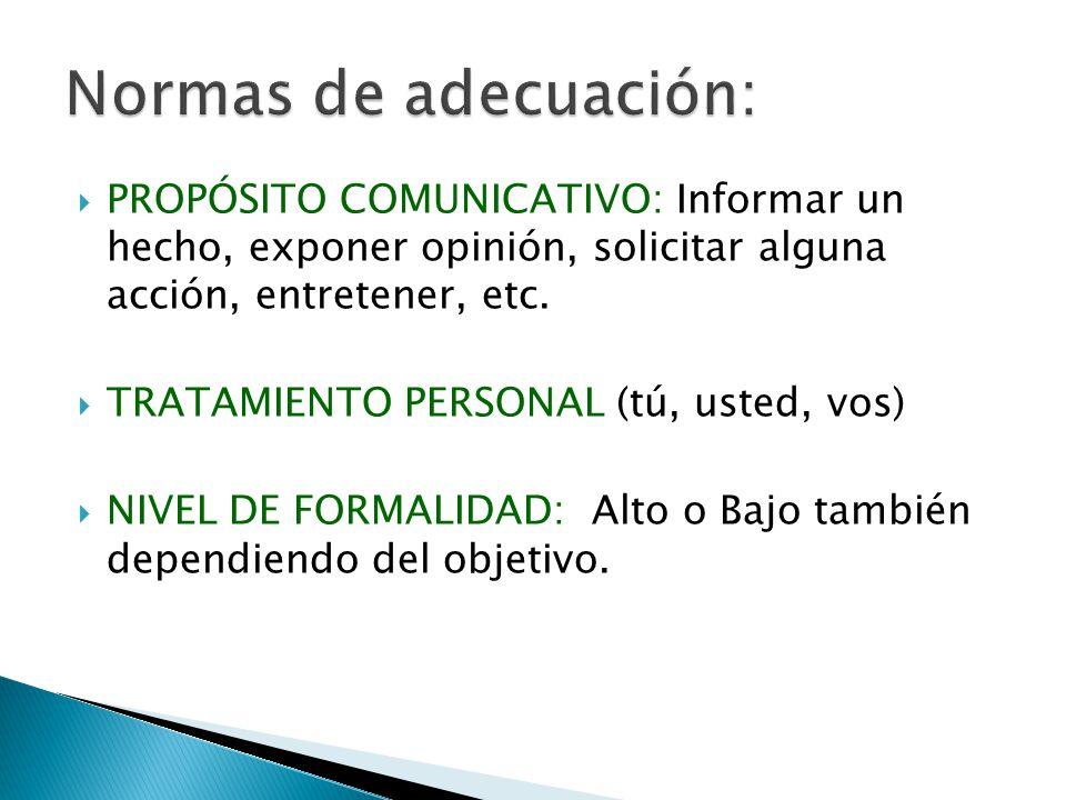 Normas de adecuación: PROPÓSITO COMUNICATIVO: Informar un hecho, exponer opinión, solicitar alguna acción, entretener, etc.
