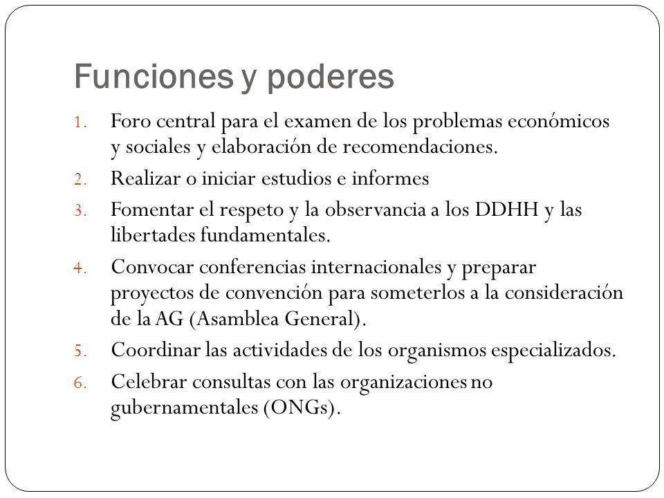 Funciones y poderes Foro central para el examen de los problemas económicos y sociales y elaboración de recomendaciones.