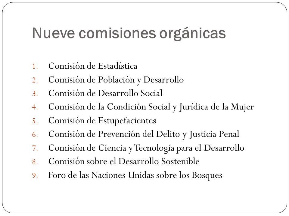 Nueve comisiones orgánicas