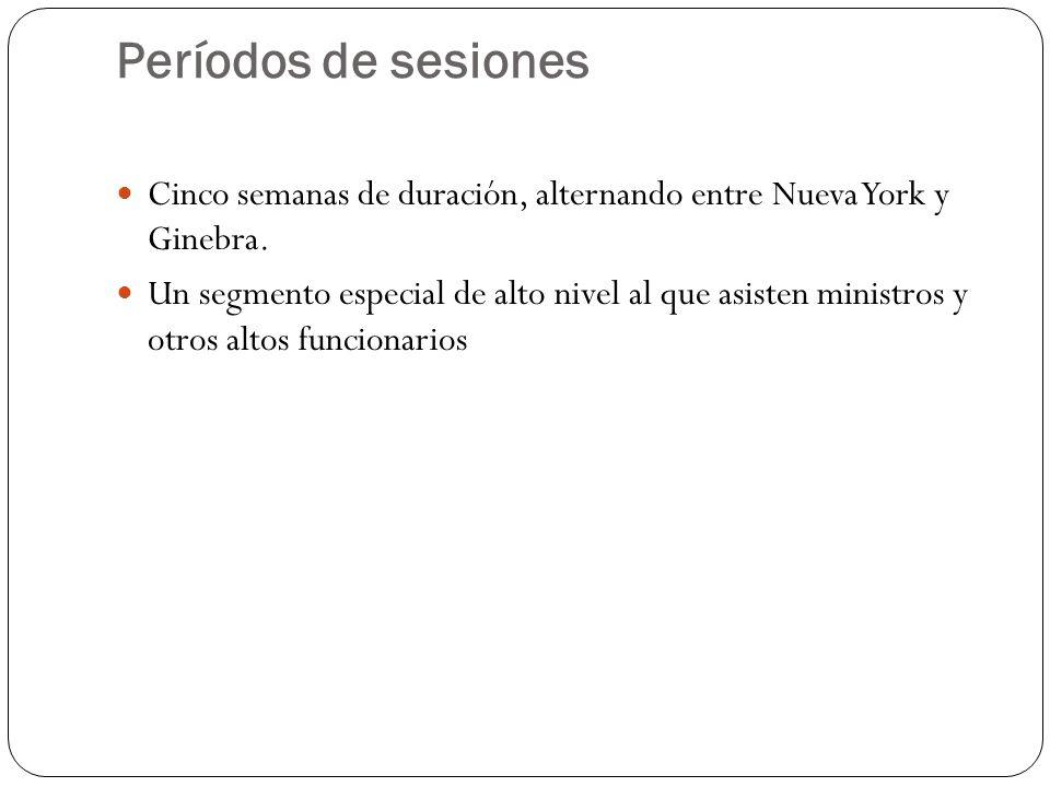 Períodos de sesiones Cinco semanas de duración, alternando entre Nueva York y Ginebra.