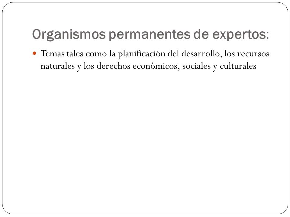 Organismos permanentes de expertos: