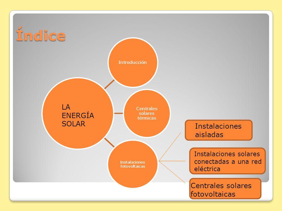 Índice LA ENERGÍA SOLAR Instalaciones aisladas