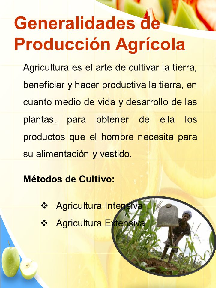 Generalidades de Producción Agrícola