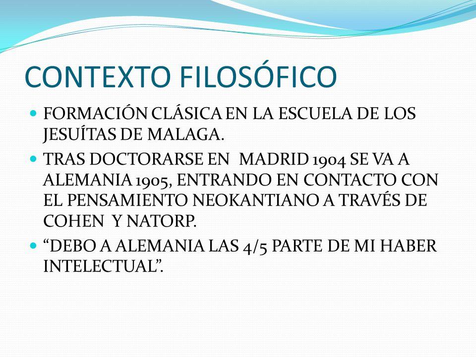 CONTEXTO FILOSÓFICO FORMACIÓN CLÁSICA EN LA ESCUELA DE LOS JESUÍTAS DE MALAGA.
