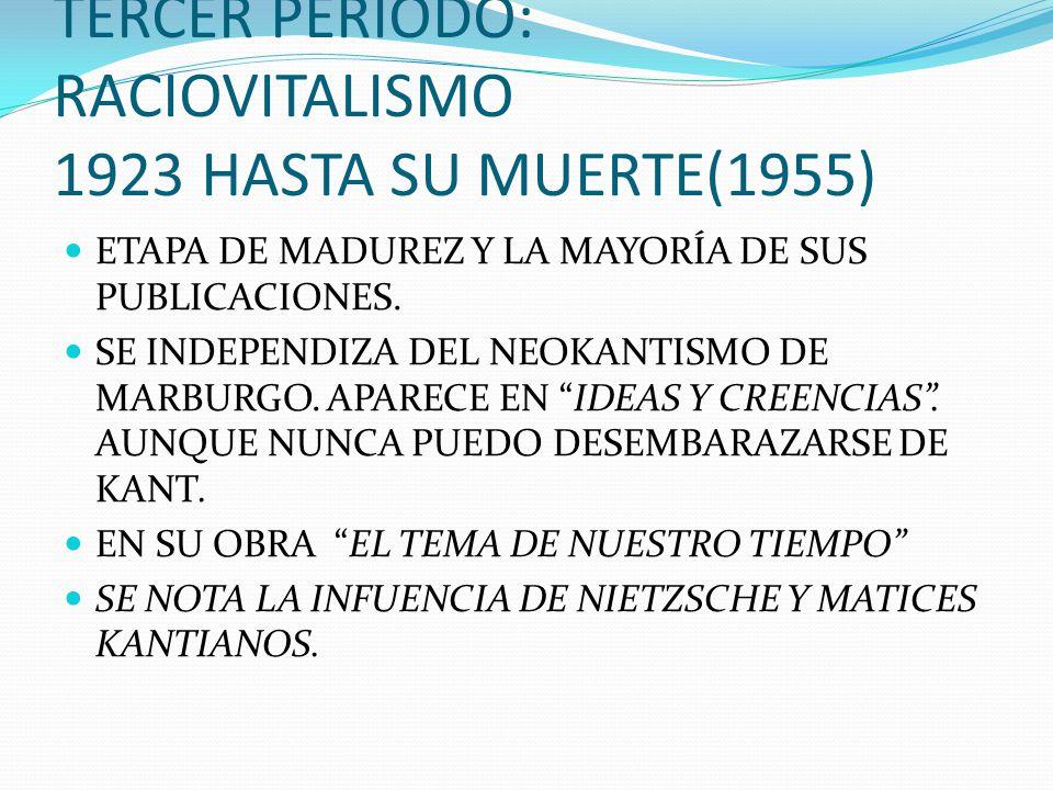 TERCER PERIODO: RACIOVITALISMO 1923 HASTA SU MUERTE(1955)
