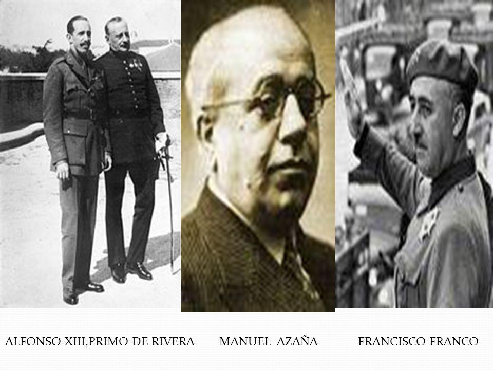 ALFONSO XIII,PRIMO DE RIVERA MANUEL AZAÑA FRANCISCO FRANCO