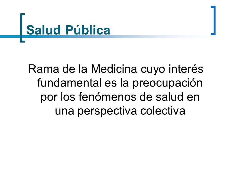 Salud Pública Rama de la Medicina cuyo interés fundamental es la preocupación por los fenómenos de salud en una perspectiva colectiva.