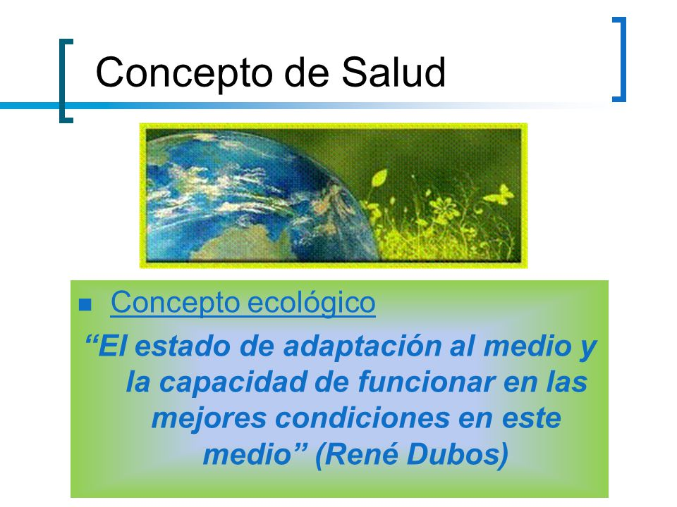 Concepto de Salud Concepto ecológico