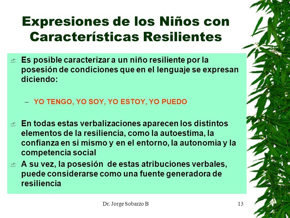 Expresiones de los Niños con Características Resilientes