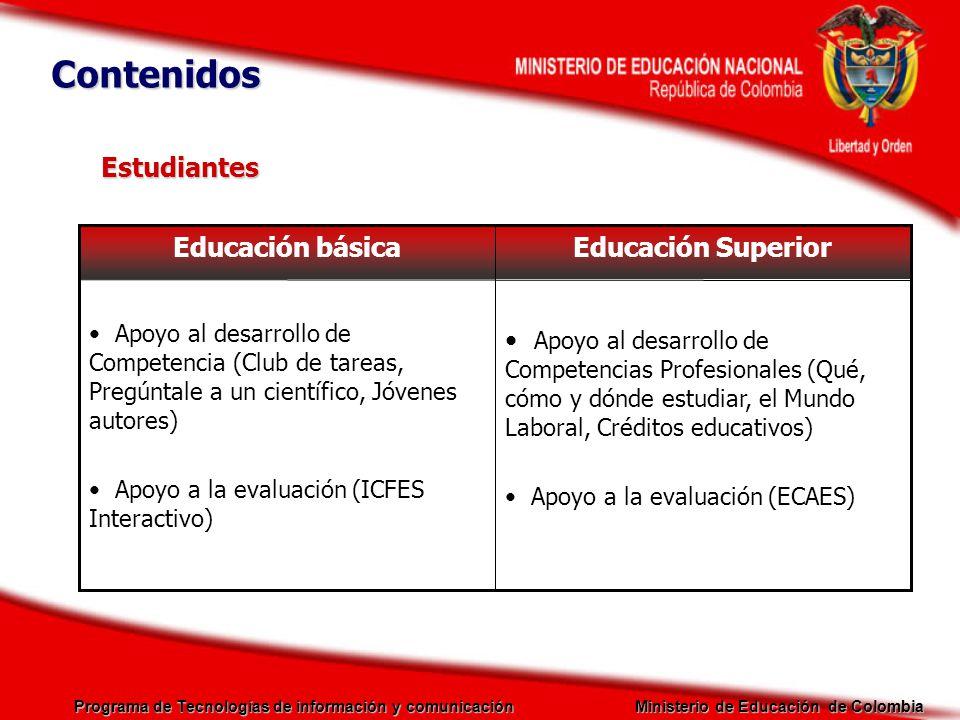 Contenidos Estudiantes Educación Superior Educación básica