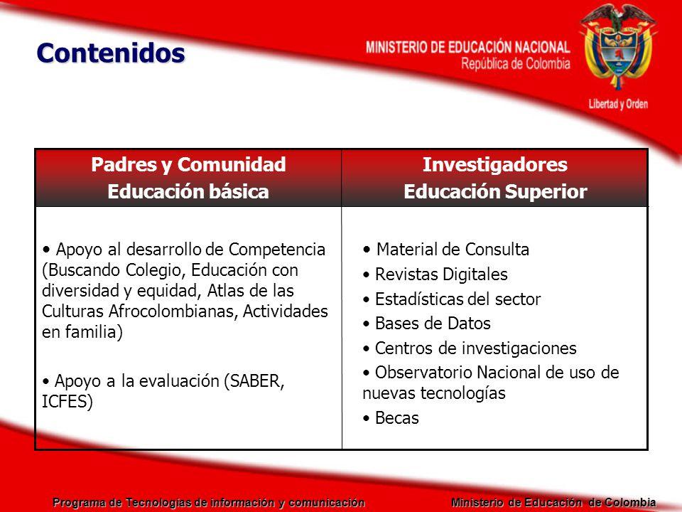 Contenidos Investigadores Educación Superior Padres y Comunidad