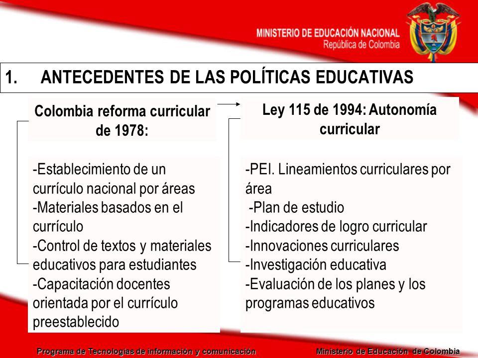 ANTECEDENTES DE LAS POLÍTICAS EDUCATIVAS