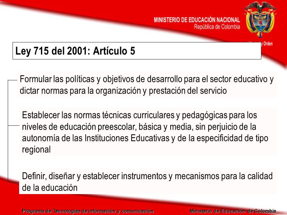 Ley 715 del 2001: Artículo 5
