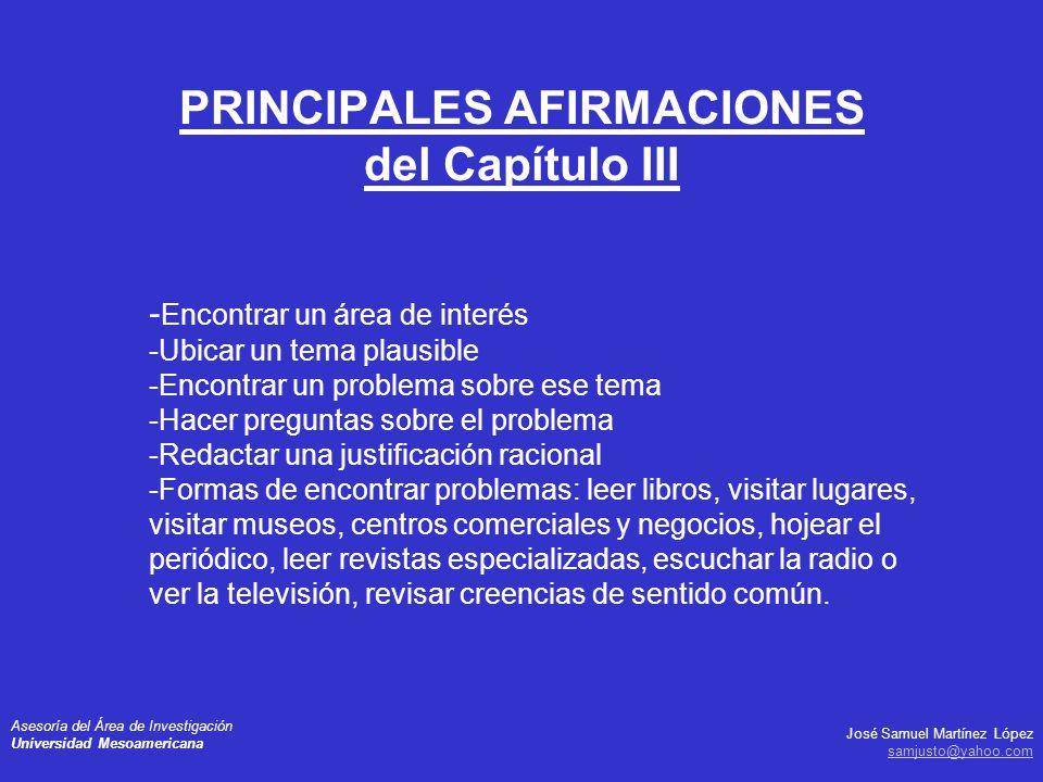 PRINCIPALES AFIRMACIONES del Capítulo III