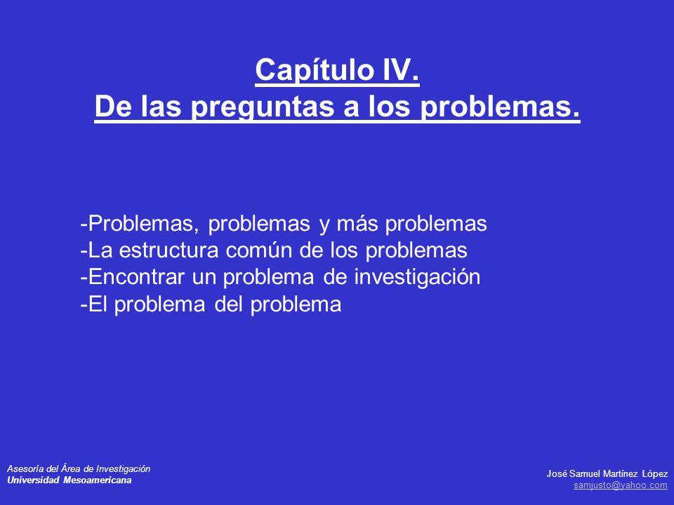 Capítulo IV. De las preguntas a los problemas.