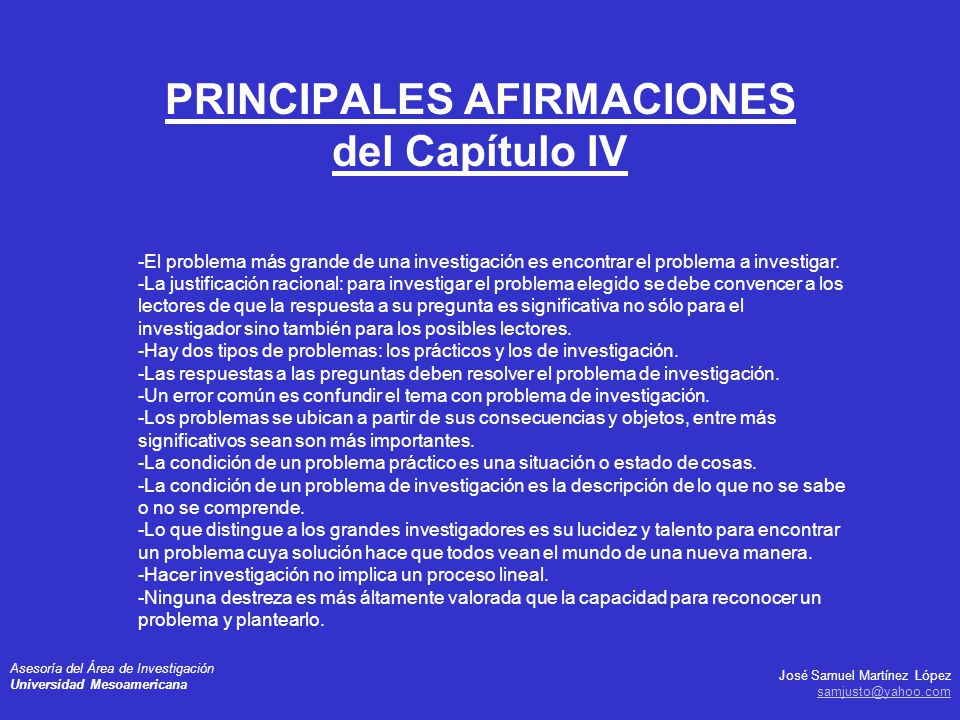 PRINCIPALES AFIRMACIONES del Capítulo IV