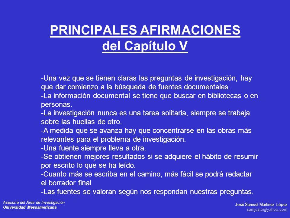 PRINCIPALES AFIRMACIONES del Capítulo V