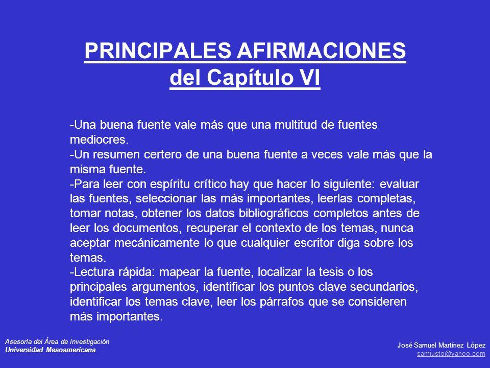 PRINCIPALES AFIRMACIONES del Capítulo VI