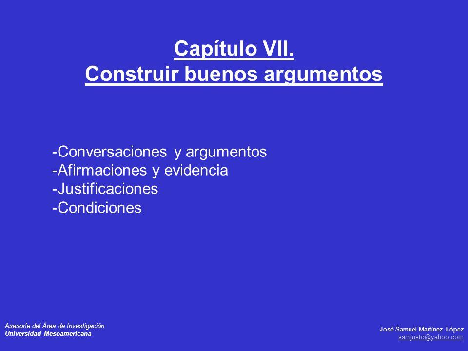 Capítulo VII. Construir buenos argumentos