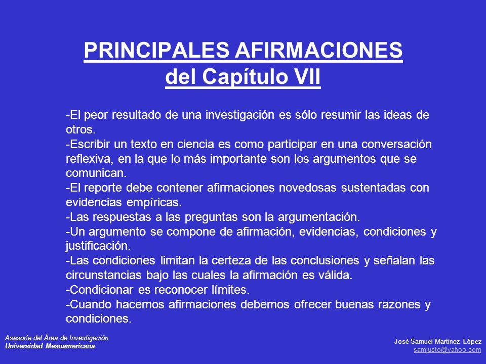 PRINCIPALES AFIRMACIONES del Capítulo VII