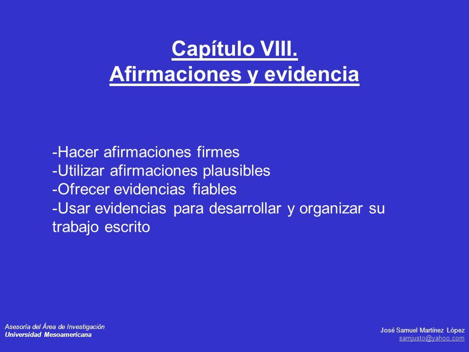 Capítulo VIII. Afirmaciones y evidencia