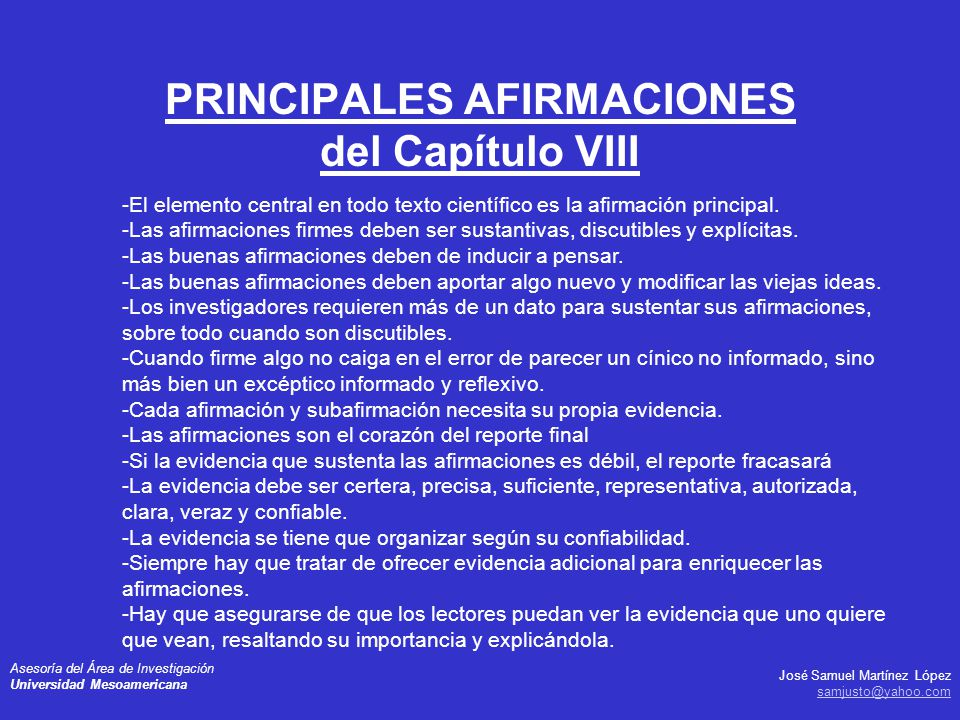 PRINCIPALES AFIRMACIONES del Capítulo VIII
