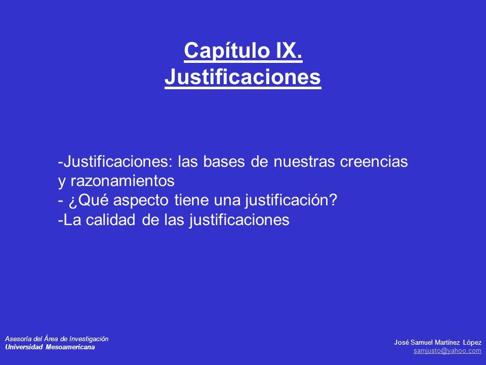 Capítulo IX. Justificaciones