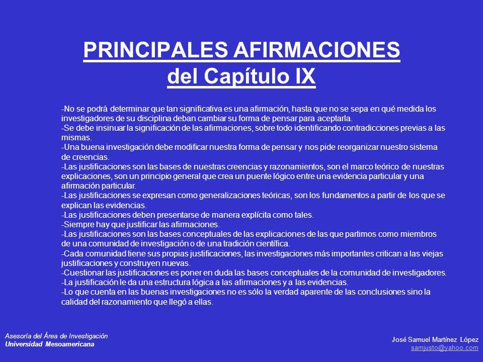 PRINCIPALES AFIRMACIONES del Capítulo IX