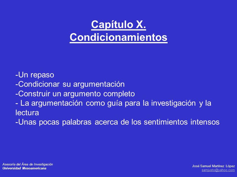 Capítulo X. Condicionamientos