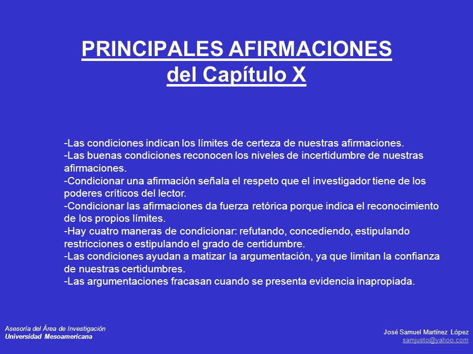 PRINCIPALES AFIRMACIONES del Capítulo X