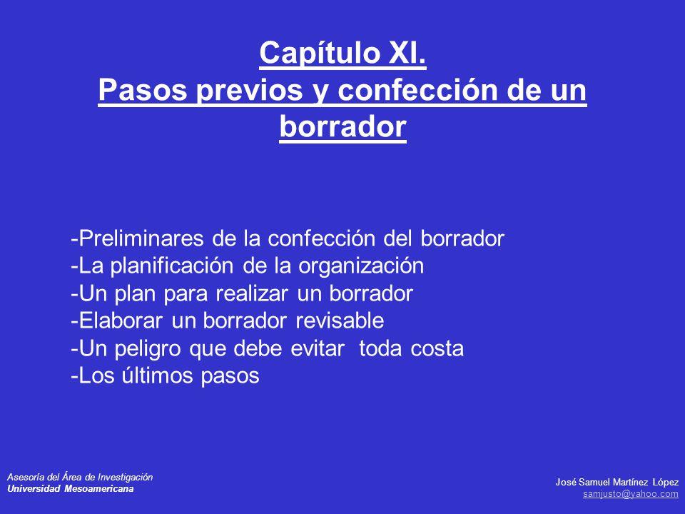 Capítulo XI. Pasos previos y confección de un borrador