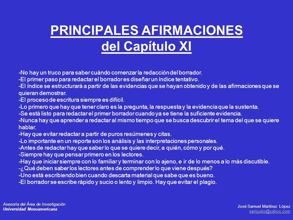 PRINCIPALES AFIRMACIONES del Capítulo XI