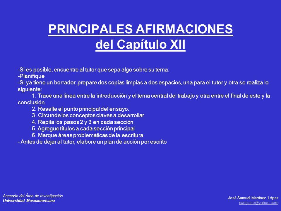 PRINCIPALES AFIRMACIONES del Capítulo XII