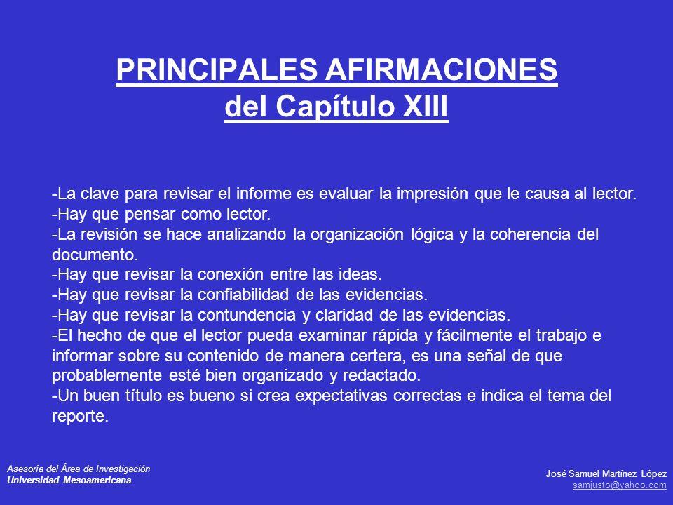 PRINCIPALES AFIRMACIONES del Capítulo XIII