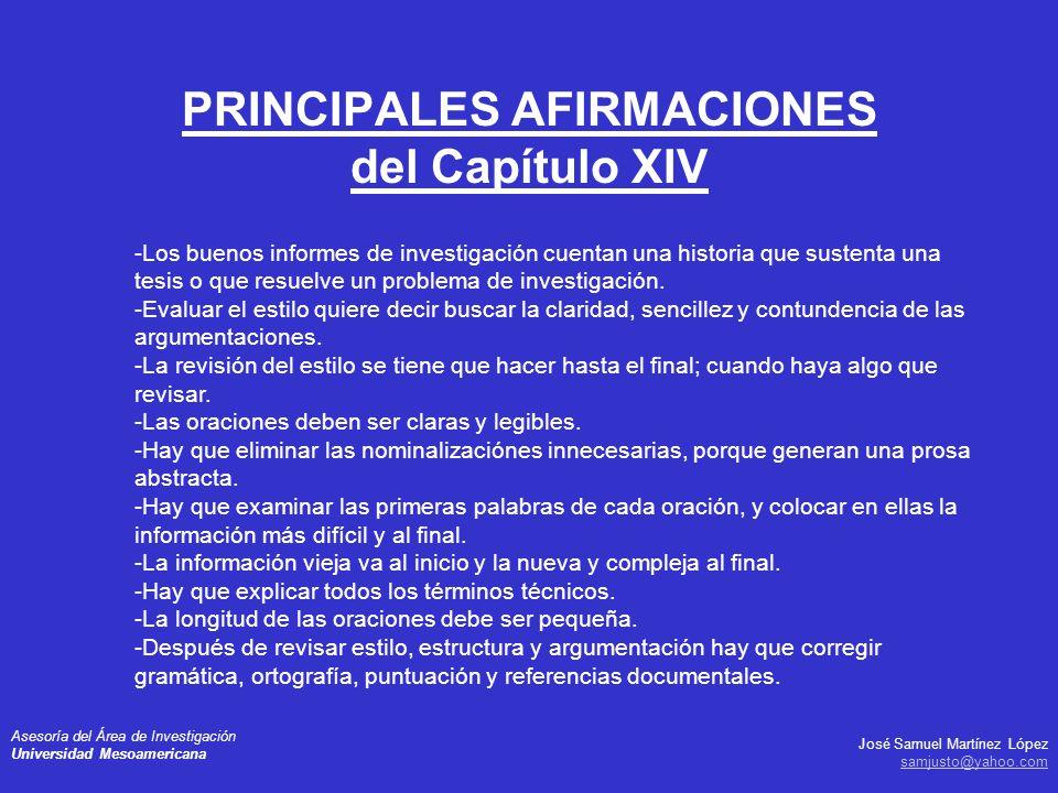 PRINCIPALES AFIRMACIONES del Capítulo XIV