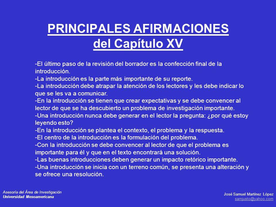PRINCIPALES AFIRMACIONES del Capítulo XV