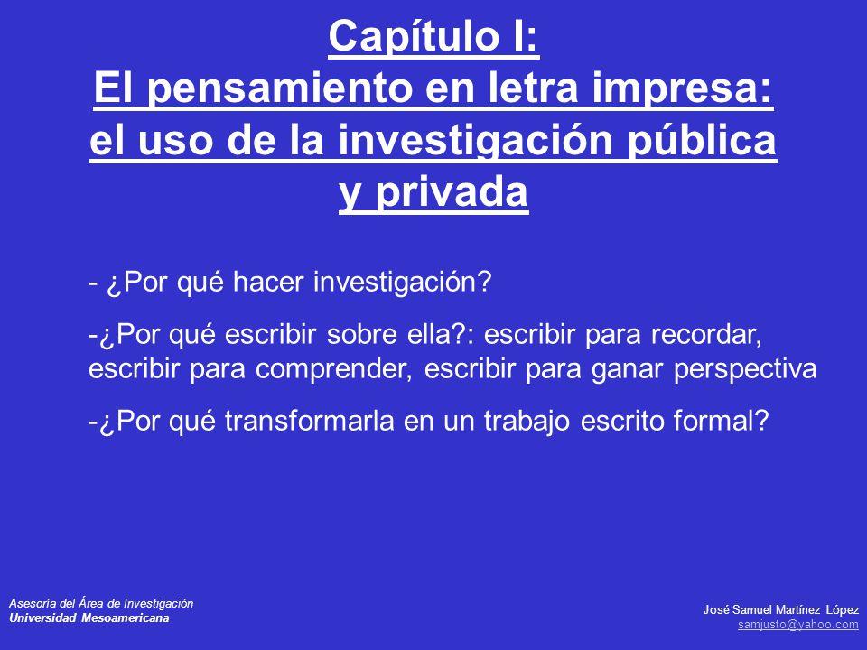 Capítulo I: El pensamiento en letra impresa: el uso de la investigación pública y privada