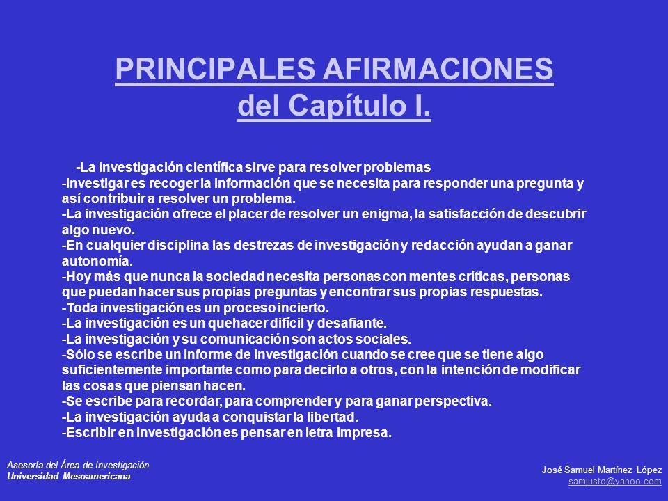 PRINCIPALES AFIRMACIONES del Capítulo I.
