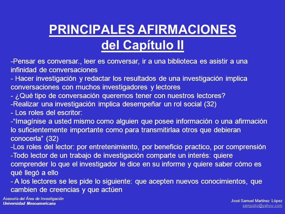 PRINCIPALES AFIRMACIONES del Capítulo II