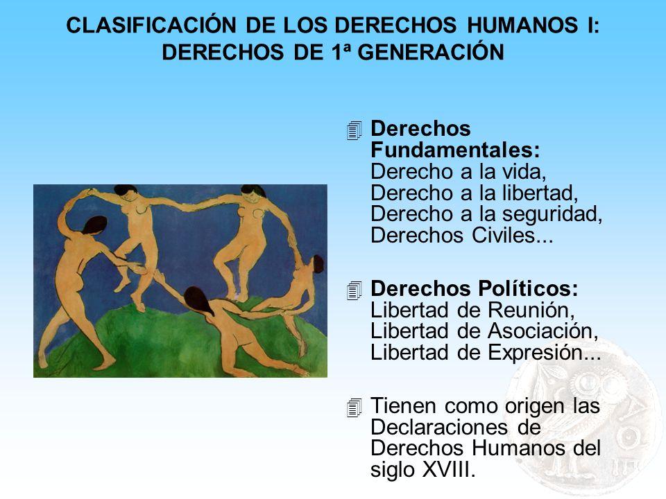 CLASIFICACIÓN DE LOS DERECHOS HUMANOS I: DERECHOS DE 1ª GENERACIÓN