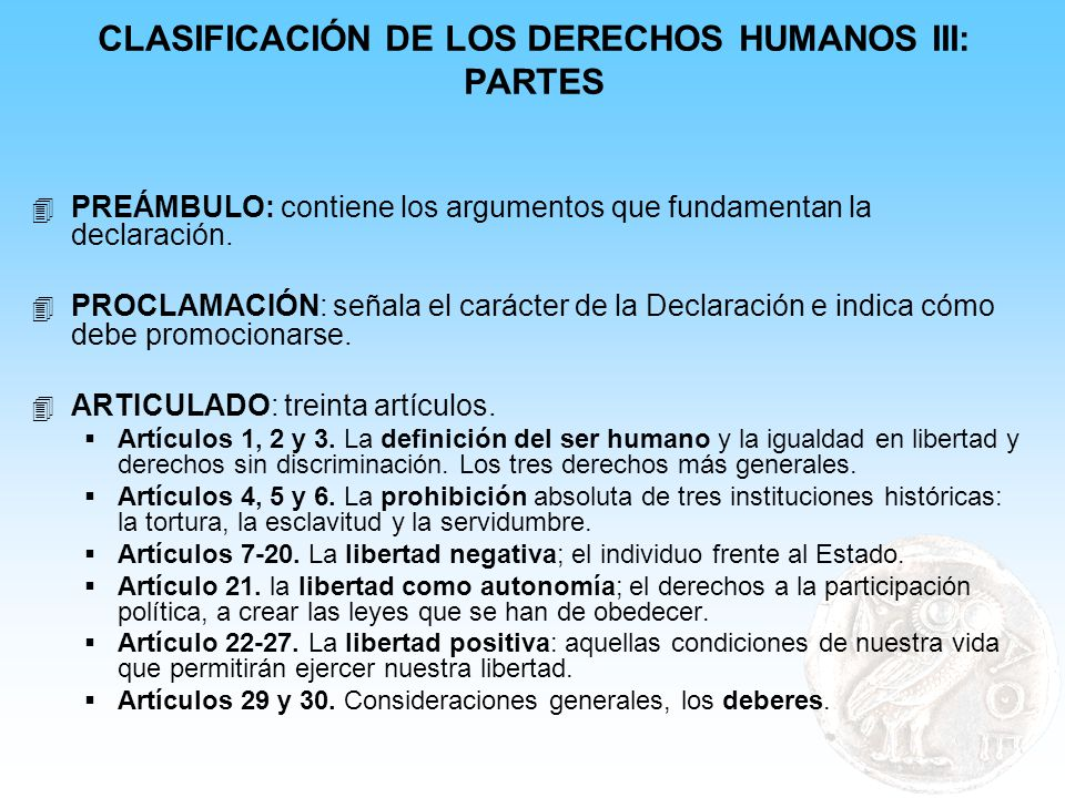 CLASIFICACIÓN DE LOS DERECHOS HUMANOS III: PARTES