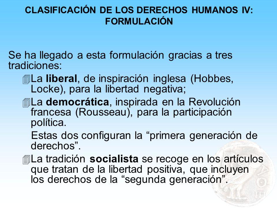 CLASIFICACIÓN DE LOS DERECHOS HUMANOS IV: FORMULACIÓN