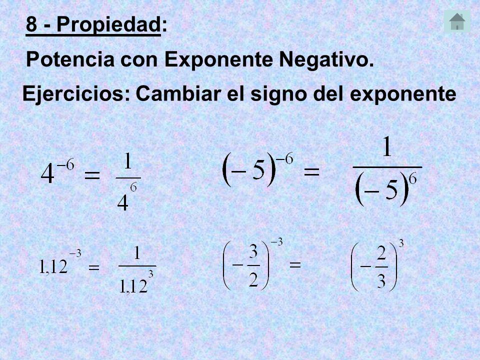 8 - Propiedad: Potencia con Exponente Negativo. Ejercicios: Cambiar el signo del exponente