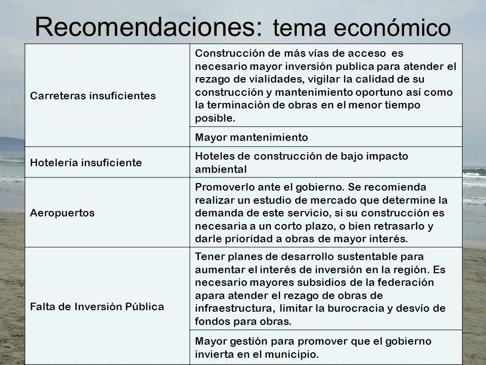 Recomendaciones: tema económico