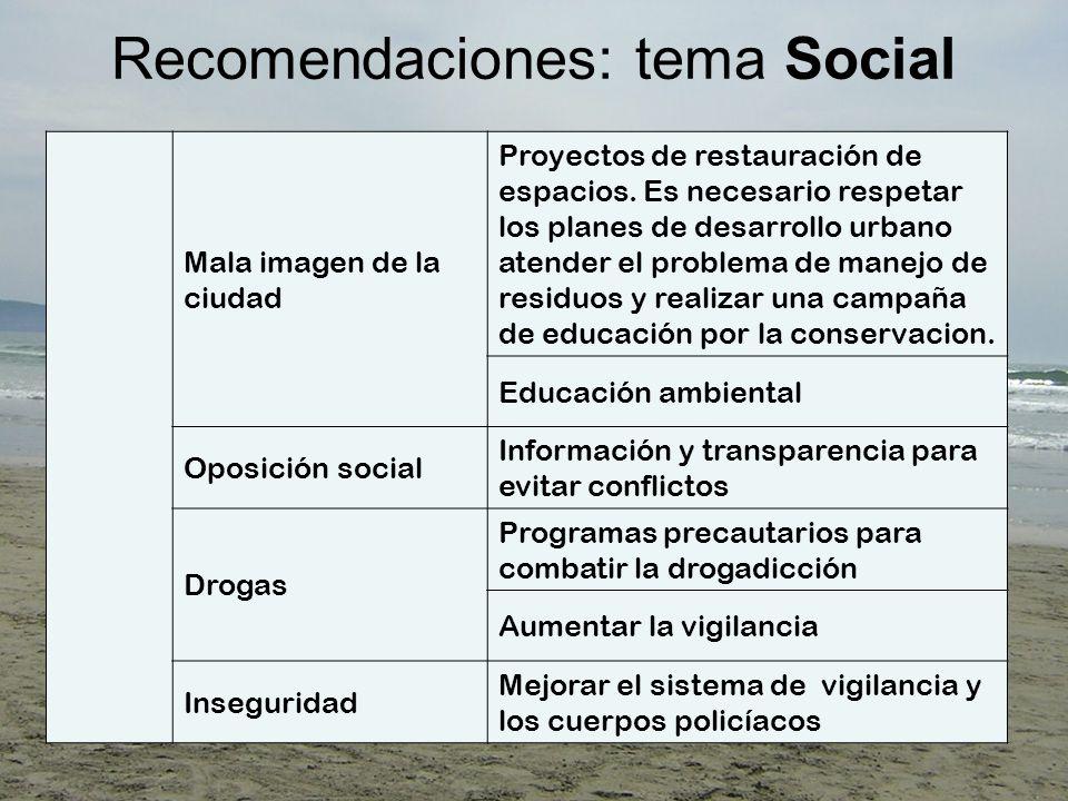 Recomendaciones: tema Social